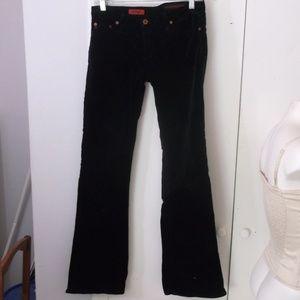 AG The Angel Black Velveteen Flare Jeans 27 reg